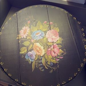 Vintage hand painted hat box